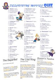 English Worksheets: DESCRIBING MOVIES QUIZ