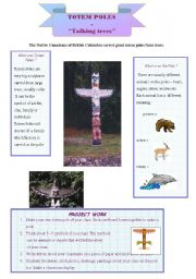 English Worksheets: Totem Poles - talking trees.