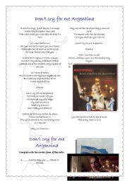 English Worksheet: Don�t cry for me Argentina-Madonna 16-10-09
