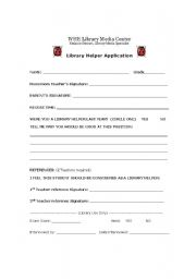 English worksheet: Library Helper Application