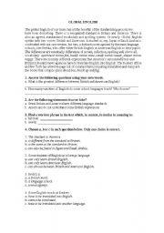 English Worksheet: global english
