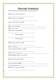 English Worksheets: Personal Inventory
