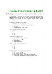 English Worksheets: reading comprehension exercises with answer key