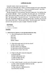 English Worksheets: A difficult question