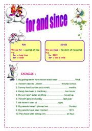 for and since worksheet with diddl and diddlina