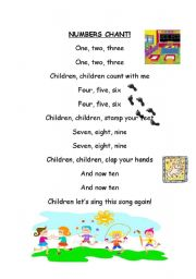 English Worksheet: Numbers chant