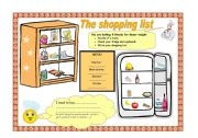 English Worksheet: the shopping list
