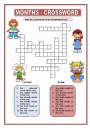 English Worksheet: MONTHS - CROSSWORD