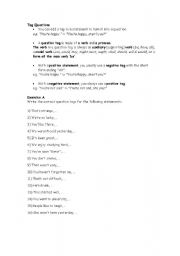 English Worksheets: Tag Questions - int / upper int