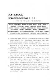 English Worksheets: Animal Factoids