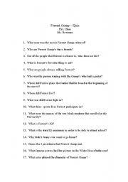 English Worksheet: Forrest Gump (movie) - Quiz