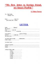 English Worksheet: Tutorial: My First Letter to Foreign Friend or PEN-PAL: Present Indefinite