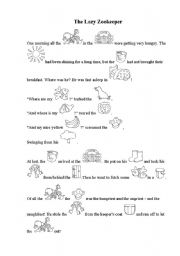 English Worksheets: The lazy zookeeper