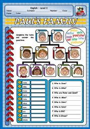 English Worksheets: PAUL�S FAMILY