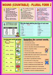 English Worksheets: Nouns (countable) - Plural (Irregular) 2