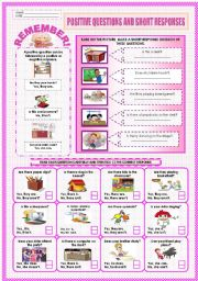English Worksheets: POSITIVE QUESTIONS AND SHORT RESPONSES