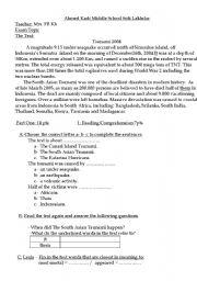 English Worksheet: Exam sample Tsunami 2004