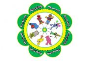 English Worksheet: Verb Flower Puzzle with Sesame Street Characters (16 piece puzzle with 8 verbs)