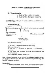 English worksheets: etymology