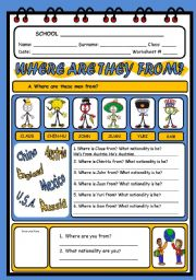 English Worksheet: VERB TO BE (COUNTRIES AND NATIONALITIES)