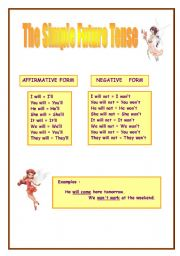 English worksheet: Simple Future Tense (affirmative and negative form)