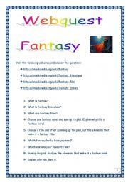 English Worksheets: FANTASY WEBQUEST (14 questions, 4 pages, including comprehensive KEY).