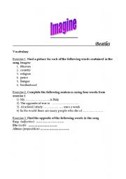 English Worksheets: Imagine by Beatles