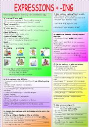 English Worksheet: EXPRESSIONS + ING