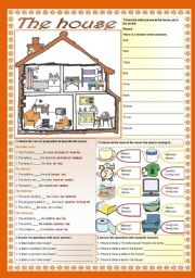 English Worksheet: The house (there is / there are + prepositions)