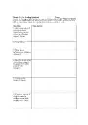 English Worksheets: Bluest Eye Pre Reading Questions