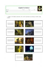 English Worksheet: shrek´s daily routine - worksheet