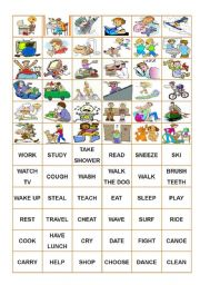 English Worksheets: Verbs - Memory Game (cards)