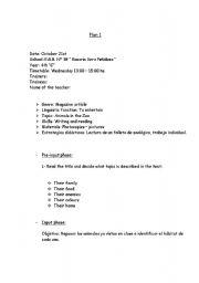 English Worksheets: Plan 1