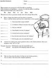English Worksheets: Question Sentences