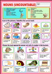 English Worksheet: Nouns (Uncountable)
