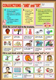English Worksheets: Conjunctions -