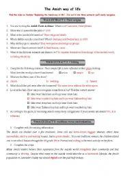 English Worksheet: Video WS - The Amish way of life