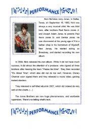 English Worksheets: Nick Jonas