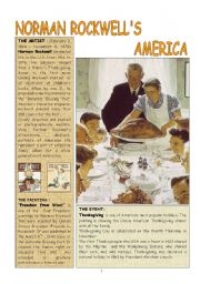 English Worksheets: THANKSGIVING  by Norman Rockwell