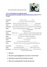 English Worksheet: Business English At the reception / front desk / Tourism