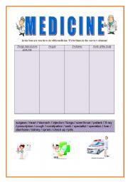 English Worksheet: Vocabulary medicine