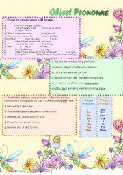 English Worksheet: Object Pronouns