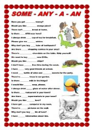 English Worksheet: Some - any - a -an