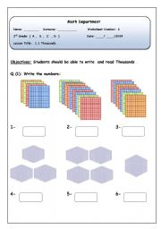 English Worksheets: Math Thousands and hundreds