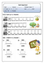 English Worksheets: Math Thousands