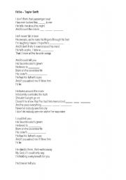 English Worksheets: I�d lie - Taylor Swift - Song to complete