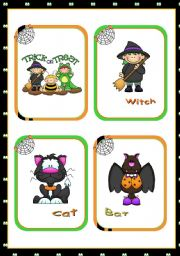 English Worksheet: Halloween Set  (1)  -   Flashcards