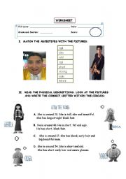 English worksheet: adjectives