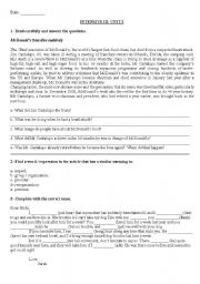 English Worksheet: New English File - Intermediate: UNIT 3 test (Modelo Lenguas Vivas) Must - have to - should - may- might - can- can�t - be able to