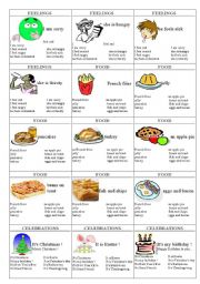 English Worksheet: family cards page 5  - feelings, food, celebrations